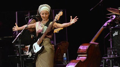 Esperanza Spalding Bassist and vocalist Esperanza Spalding performs to a capacity crowd at the Byham Theater.