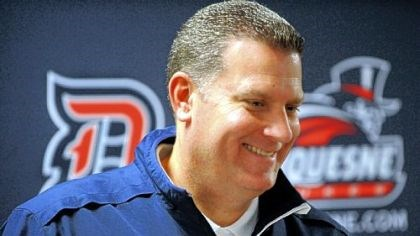 ferry New Duquesne coach Jim Ferry talks to the media Friday before the start of Dukesfest.