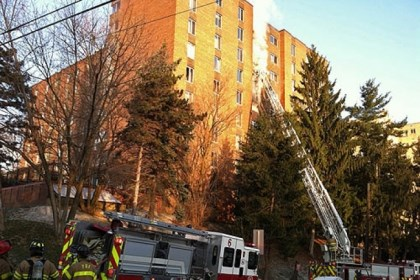 Fire 1 Firefighters were on the scene at a high-rise apartment building on Bayard Street in Shadyside. One person died in the fire.