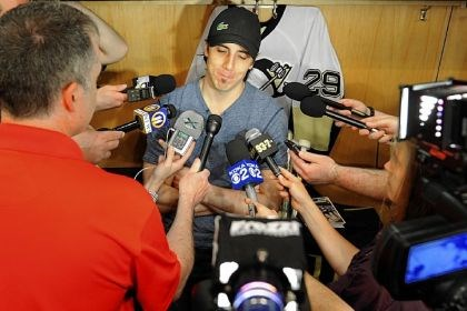 fleury Penguins goaltender Marc-Andre Fleury talks with the media Sunday at Consol Energy Center.