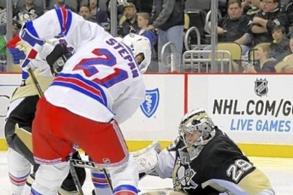Fleury Marc-Andre Fleury stops New York's Derek Stepan in the second period - one of his 23 saves - en route to his franchise-record 23rd career shutout at Consol Energy Center.