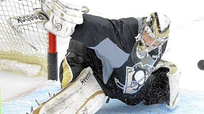 Fleury Marc-Andre Fleury makes a save in practice Tuesday at Consol Energy Center. After tonight's scrimmage, the team has just one more practice before opening the season Saturday.