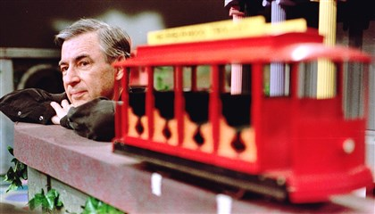 "Fred Rogers 1 Fred Rogers pauses during a taping of his show "" Mister Rogers' Neighborhood."""