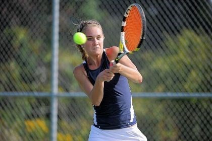 frey Mt. Lebanon senior Callie Frey in her 3-6, 6-1, 6-2 victory against Pine-Richland's Marlys Bridgham in the Class AAA WPIAL singles tennis championship match Thursday at North Allegheny High School.