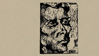 "gilb ""Jack"" (1960), a woodcut by Gianna Gelmetti. From the cover of Jack Gilbert's ""Collected Poems."""