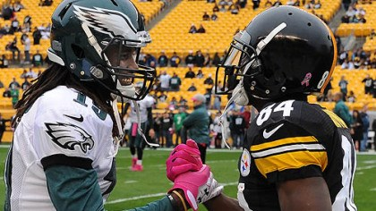 Gilyard and Brown The Eagles' Mardy Gilyard greets the Steelers' Antonio Brown prior to the game.