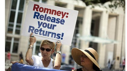 GOP presidential candidate Mitt Romney Sharon Simon left, and Ellen Bander, of Baton Rogue, La., protest outside a fundraiser for Republican presidential candidate, former Massachusetts Gov. Mitt Romney on Monday.