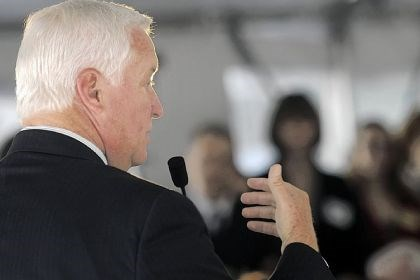 Gov. Tom Corbett speaks Gov. Tom Corbett speaks on Thursday at the dedication of the Tribone Center at Duquesne University. The center offers legal aid to low-income families.