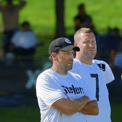 "haley Offensive coordinator Todd Haley, standing with quarterback Ben Roethlisberger during training camp, said the offense needs to do a better job ""across the board."""
