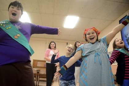 Hannah Feda Hannah Feda, left, 13, dances with fellow Girl Scouts during a meeting of a Girl Scout Troop led by Connie Feda, Hannah's mother, that includes special needs children at the Hawthorne Presbyterian Church in Crafton. Hannah was born with Down syndrome.