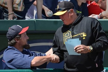 Hanrahan Clint Hurdle says hello to Joel Hanrahan before the Pirates-Red Sox game Wednesday in Fort Myers, Fla.