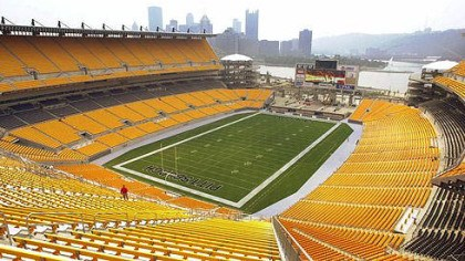 Heinz Field A view from a high seat in Heinz Field showcases Downtown Pittsburgh and the confluence of the Allegheny and Monongahela Rivers.