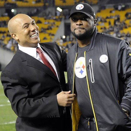 hines ward and mike tomlin Steelers head coach Mike Tomlin visits with former wide receiver Hines Ward before the game Sunday night against the Ravens at Heinz Field.