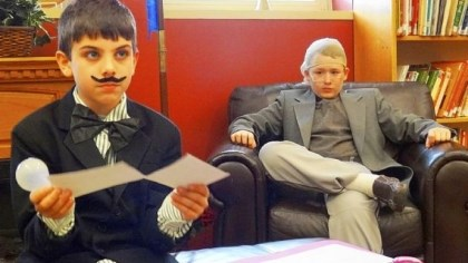 History-2 Trevor King, left, as Thomas Edison, and Jordan Kormik presented monologues to family and classmates.
