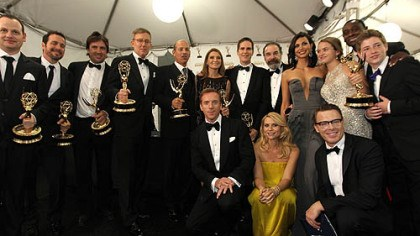 """Homeland"" The cast of ""Homeland"" pose backstage at the 64th Primetime Emmy Awards at the Nokia Theatre on Sunday."