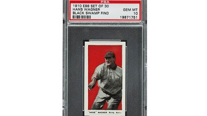 Honus Wagner This 1910 Honus Wagner baseball card was found in the attic of a house in Defiance, Ohio. The best of the bunch are expected to bring a total of $500,000 when they are sold at auction in August during the National Sports Collectors Convention in Baltimore.