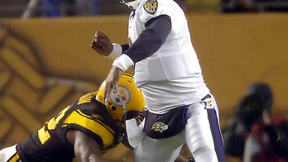 James Harrison Linebacker James Harrison sacks Ravens quarterback Steve McNair forcing a fumble which Harrison recovered in first quarter.(vs. Ravens 11/05/07)
