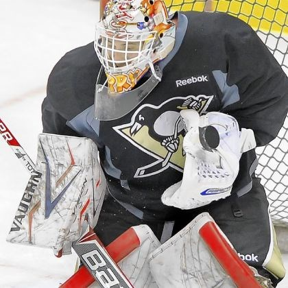 jarry Penguins goalie Tristan Jarry makes a save during the Penguins development camp at Consol Energy Center.