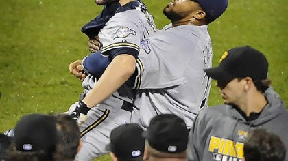 Jason Kendall and Prince Fielder Brewers catcher Jason Kendall is held back by first baseman Prince Fielder during a bench- clearing incident in the eighth inning.
