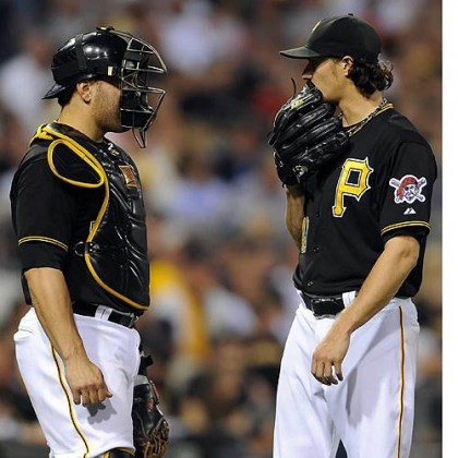 Jeff Locke and Russell Martin Pirates starting pitcher Jeff Locke talks with Russell Martin as they take on the Cardinals in the fourth inning Wednesday night at PNC Park.