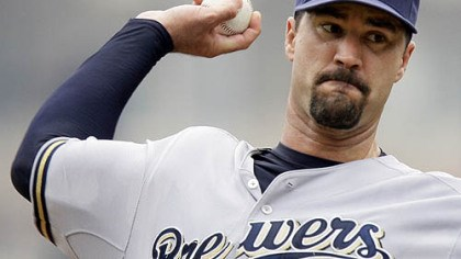 Jeff Suppan Brewers pitcher Jeff Suppan throws during the first inning.