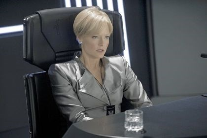 "Jodie Foster Jodie Foster portrays Secretary Delacourt, who orders unauthorized shuttles to be shot down, in ""Elysium."""