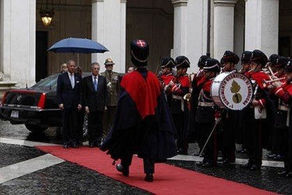 Joe Biden U.S. Vice President Joe Biden, left, and Italian Premier Mario Monti review the honor guard Monday in Rome. Mr. Biden will lead the U.S. delegation to newly elected Pope Francis' installation today.