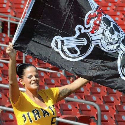 Jolly Roger A Pirates fan waves the Jolly Roger before Thursday's game.