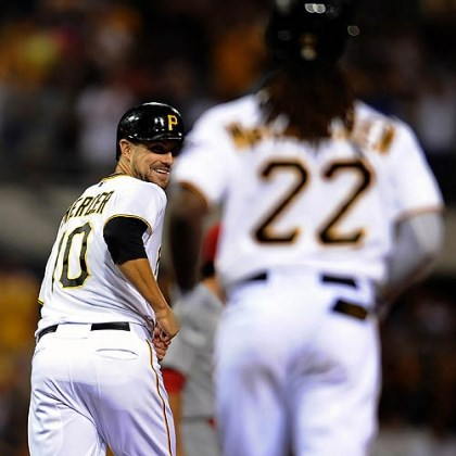 Jordy Mercer and Andrew McCutchen The Pirates' Jordy Mercer laughs as he realizes a ball hit by Andrew McCutchen cleared the outfield wall for a two-run home run against the Cardinals in the fifth inning of the second game of a double header at PNC Park Tuesday night.
