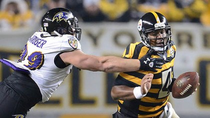 Kruger pulls down Leftwich Ravens Paul Kruger pulls down Steelers quarterback Byron Leftwich.