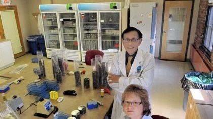 Legionnaires Victor Yu and Janet Stout, Legionnaires' disease experts, at Special Pathogens Laboratory in Uptown.