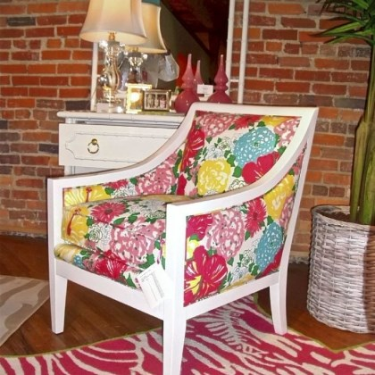 Lilly Pulitzer chair Lilly Pulitzer white lacquer chair and floral fabric.