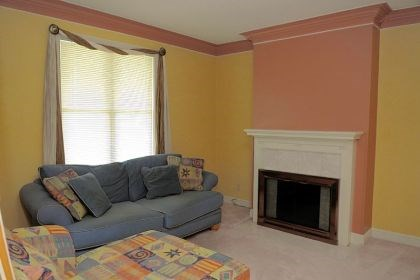 living room The 13-by-13 living room features gold and salmon-colored walls, white crown molding and a fireplace.
