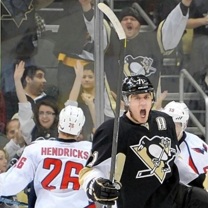 MalkinScores The Penguins' Evgeni Malkin celebrates his goal in the second period Thursday against the Capitals at Consol Energy Center.