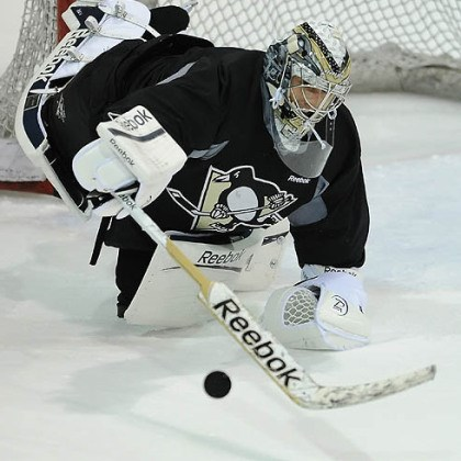 Marc-Andre Fleury Penguins goalie Marc-Andre Fleury makes a save during afternoon workouts at Southpointe.