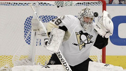 Marc-Andre Fleury Penguins goaltender Marc-Andre Fleury stops a shot during the third period of Tuesday's game against the Rangers at Madison Square Garden in New York.