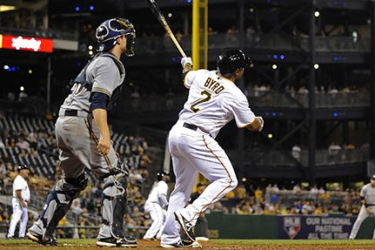 Marlon Byrd The Pirates' Marlon Byrd hits a three-run homer against the Brewers in the seventh inning Wednesday night at PNC Park.