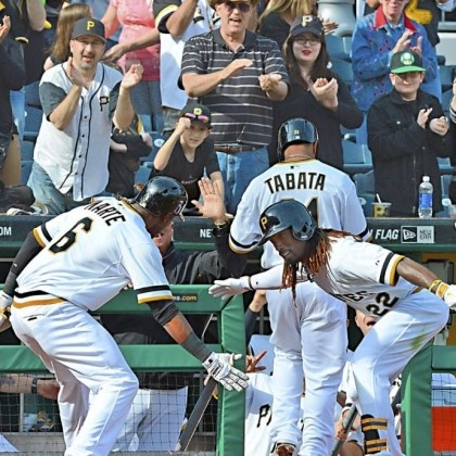 martemccutchen Andrew McCutchen, right, greets Starling Marte after Marte hit a home run against the Reds Sunday at PNC Park. The Pirates won, 10-7.