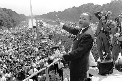 "Martin Luther King Jr. Martin Luther King Jr. waves to supporters during the March on Washington Aug. 28, 1963, in the PBS special ""The March.""Look this weekend for more coverage on the 50th anniversary of the March on Washington."