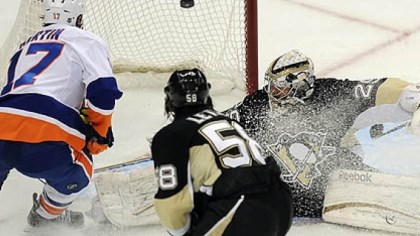 Matt Martin The Islanders' Matt Martin scores on Penguins goaltender Marc-Andre Fleury in the second period of game two of the first wound in the Stanley Cup playoffs at Consol Energy Center.