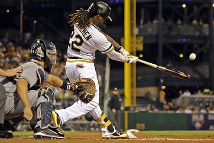 McCutchen doubles Andrew McCutchen hits a ground-rule double against the Padres in the third inning Tuesday night at PNC Park.