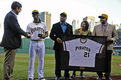 McCutchen honored Andrew McCutchen is introduced as the Pirates nominee for the Roberto Clemente Award by owner Bob Nutting, along with Ricky, Vera and Luis Clemente before the start of the team's game against the Padres Tuesday.