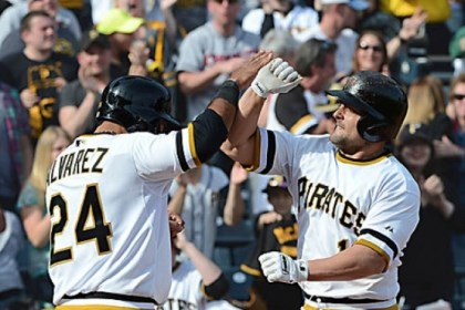 Michael McKenry Michael McKenry gets a high five from Pedro Alvarez after his second home run of the afternoon, which tied the score, 6-6, in the eighth inning.