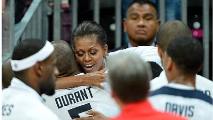 michelle First lady Michelle Obama congratulates Kevin Durant and the U.S. men's basketball team after its win.