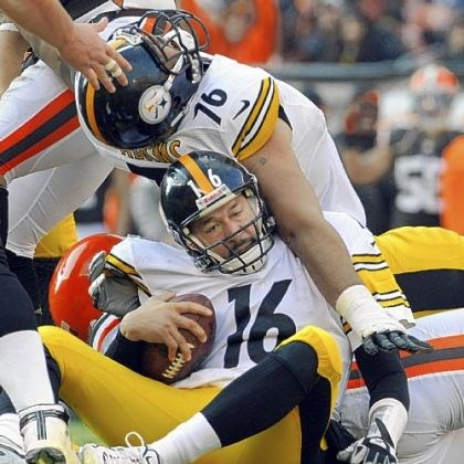 Mike Adams Steelers lineman Mike Adams lands on top of quarterback Charlie Batch after Batch was sacked against the Browns Sunday in Cleveland.