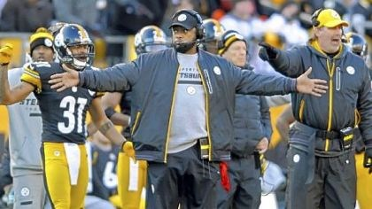 Mike Tomlin Steelers coach Mike Tomlin looks to the referees for a call as his team takes on the Bengals at Heinz Field Sunday.