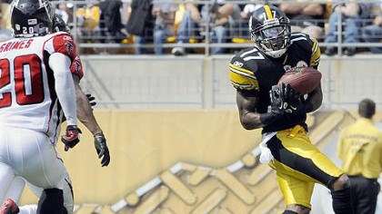 Mike Wallace Steelers wide receiver Mike Wallace caught 10 touchdown passes this season.