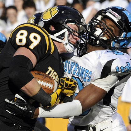 North Allegheny's Zach Lyon North Allegheny's Zach Lyon runs into the end zone for a touchdown as he's defended by Woodland Hills' Trevon Mathis Friday in the WPIAL class AAAA championships at Heinz Field.