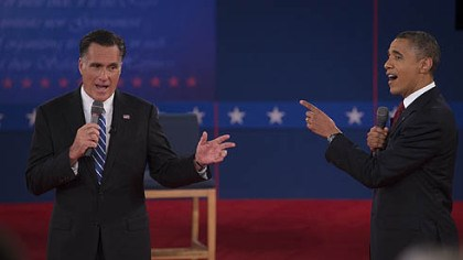 Obama and Romney U.S. President Barack Obama and Mitt Romney, seen here at the second presidential debate earlier this month at Hofstra University in Hempstead, N.Y., are in a close competition for votes in Ohio.