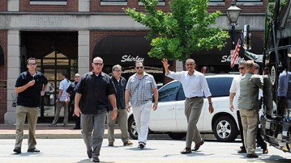 obama arrives in beaver co President Obama greets a crowd gathered outside Kretchmar's Bakery on Third Street.